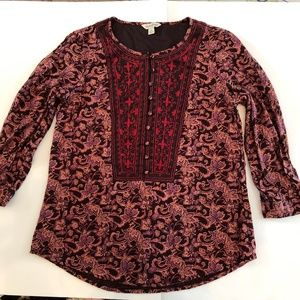 Lucky Brand, Size Small, Detailed 3/4 sleeve top